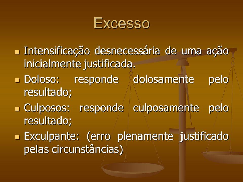Excesso Intensificação desnecessária de uma ação inicialmente justificada. Doloso: responde dolosamente pelo resultado;