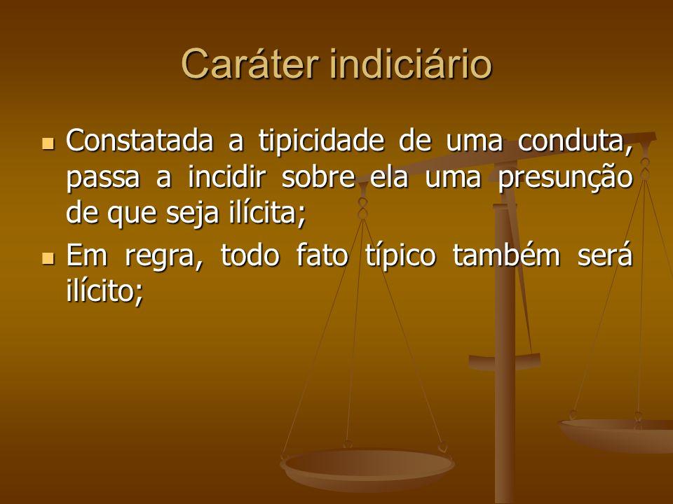 Caráter indiciário Constatada a tipicidade de uma conduta, passa a incidir sobre ela uma presunção de que seja ilícita;