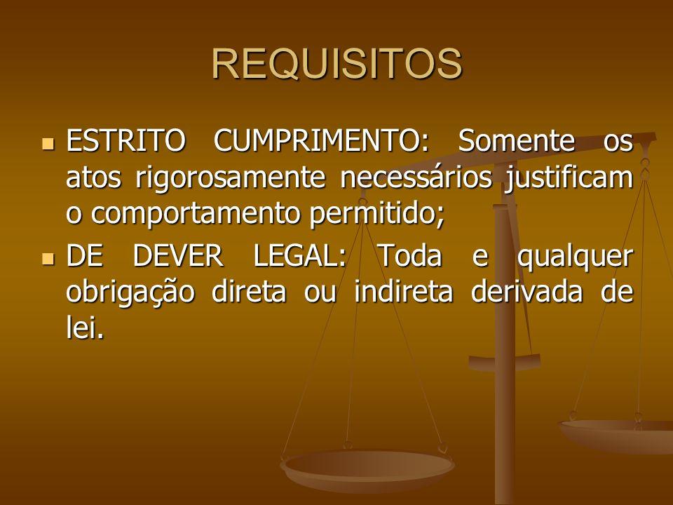 REQUISITOS ESTRITO CUMPRIMENTO: Somente os atos rigorosamente necessários justificam o comportamento permitido;