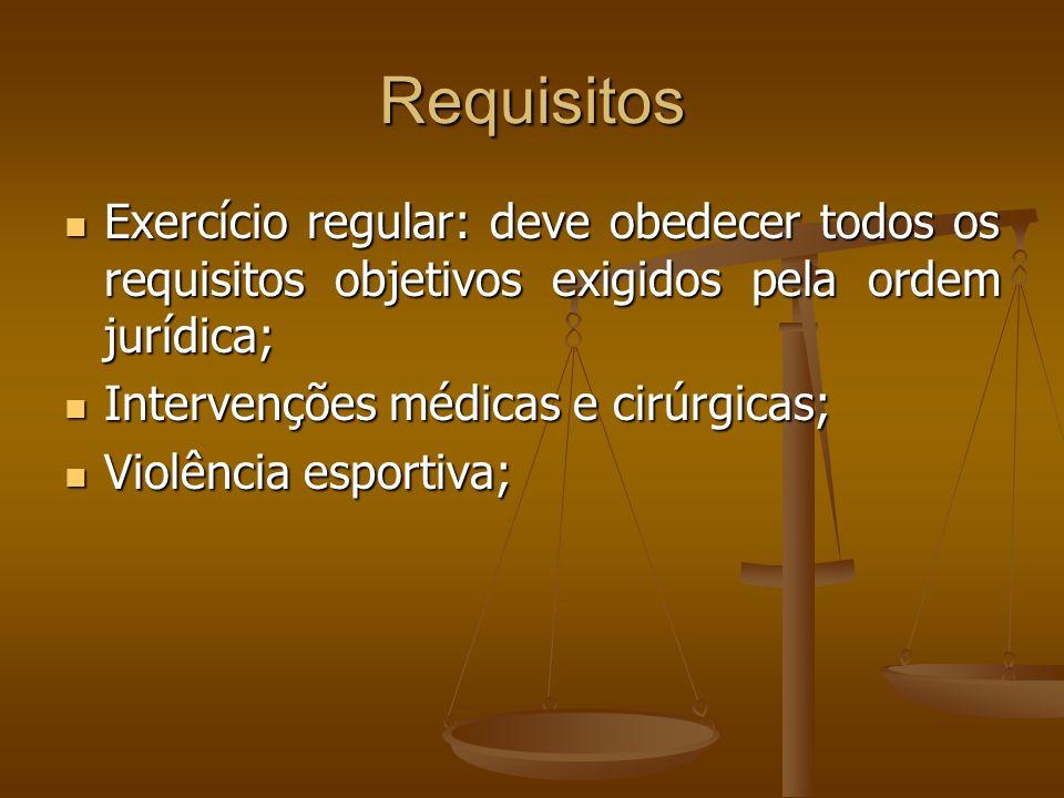 Requisitos Exercício regular: deve obedecer todos os requisitos objetivos exigidos pela ordem jurídica;