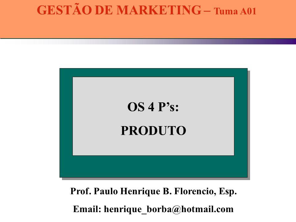 GESTÃO DE MARKETING – Tuma A01 Prof. Paulo Henrique B. Florencio, Esp.