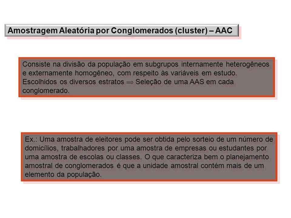 Amostragem Aleatória por Conglomerados (cluster) – AAC