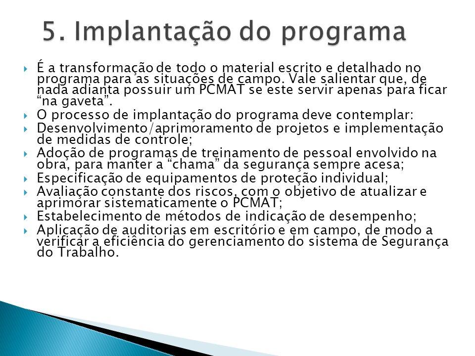 5. Implantação do programa