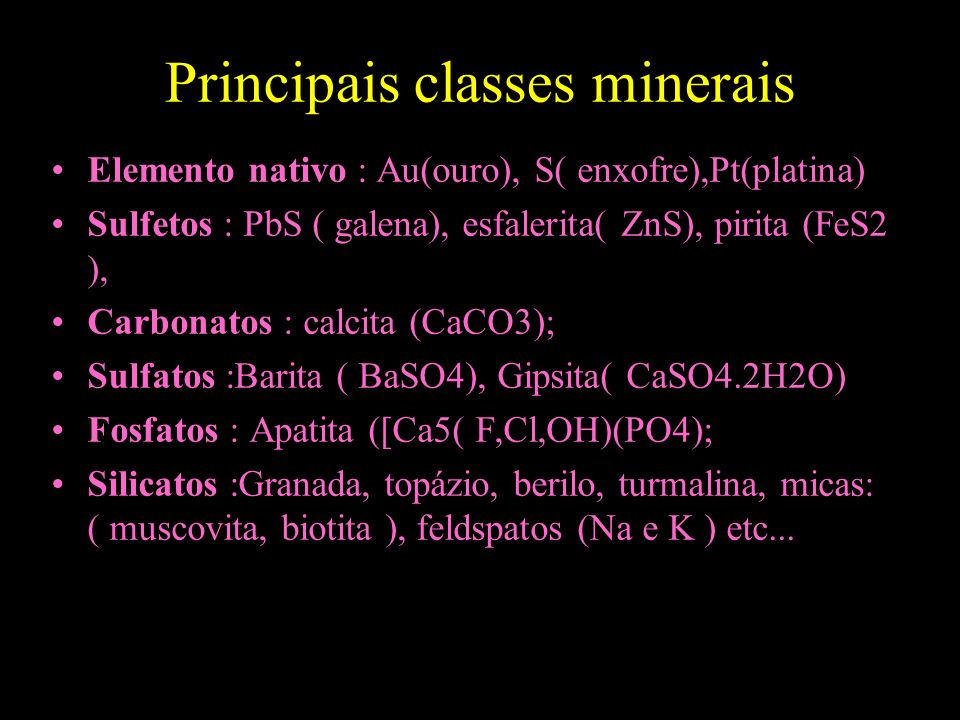 Principais classes minerais