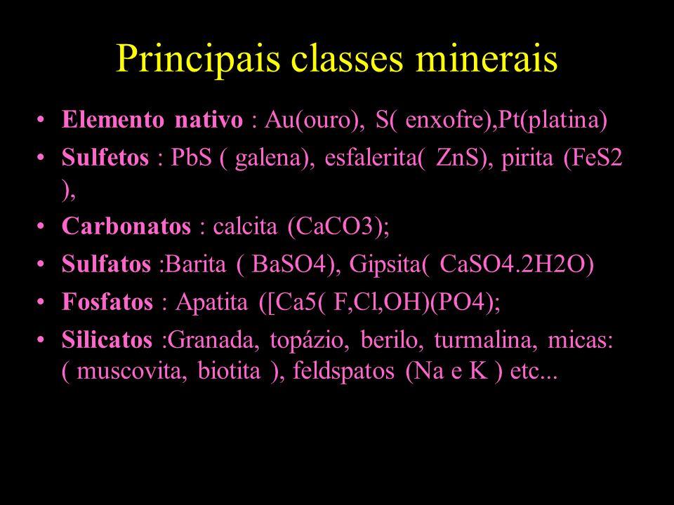 Principais classes minerais