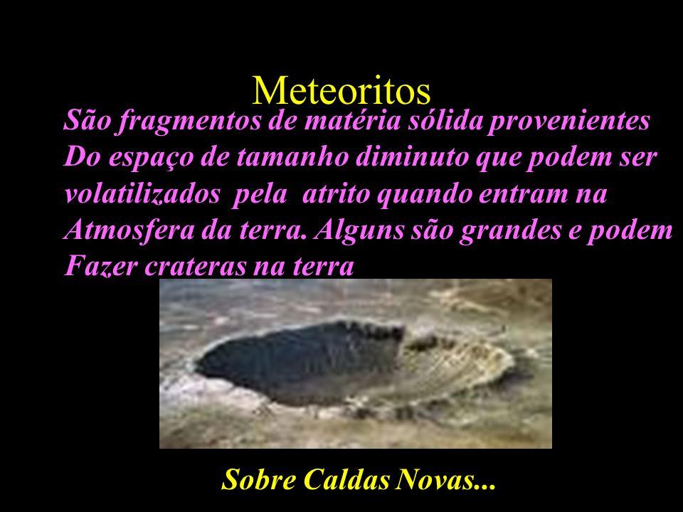 Meteoritos São fragmentos de matéria sólida provenientes