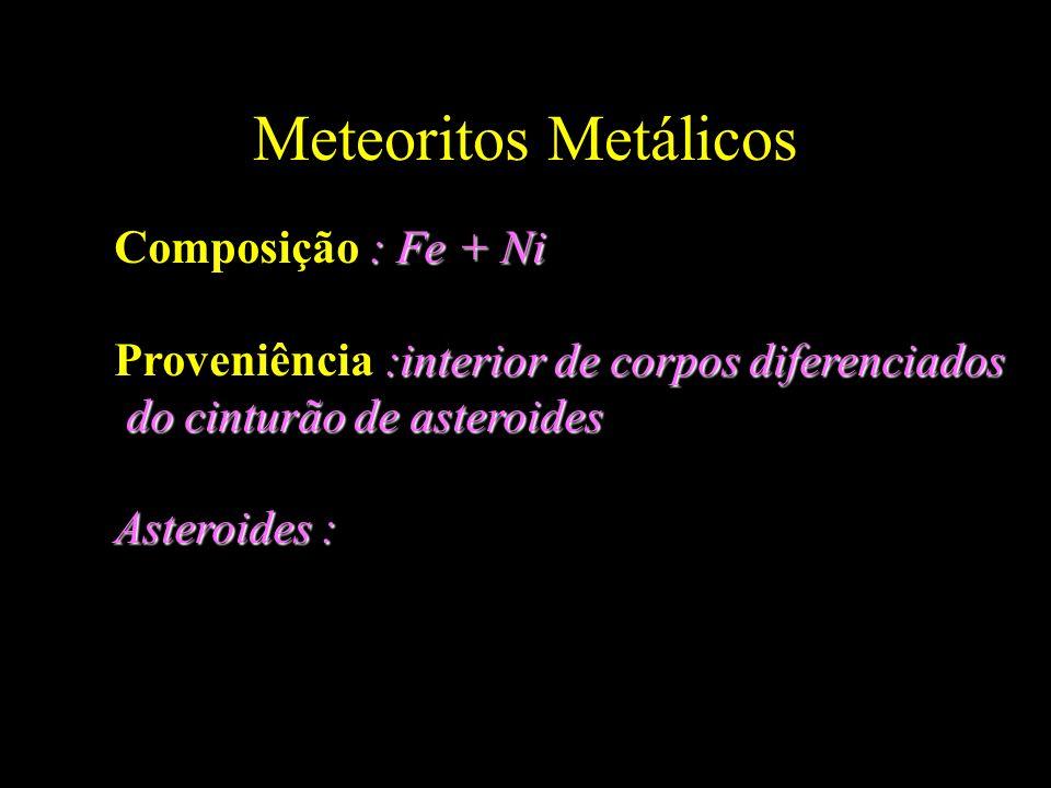 Meteoritos Metálicos Composição : Fe + Ni