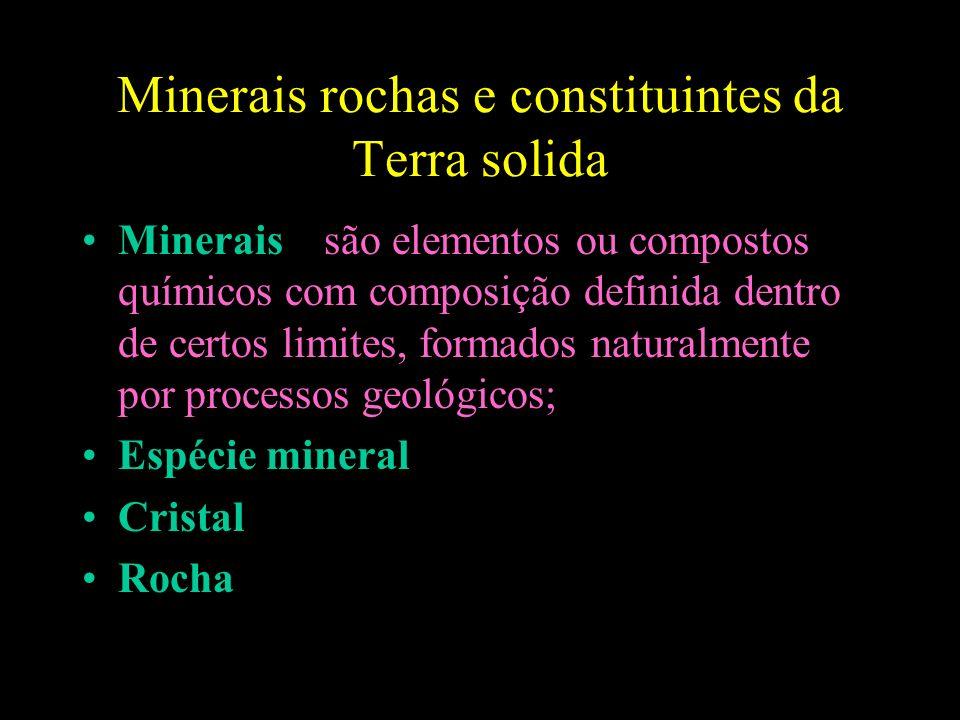 Minerais rochas e constituintes da Terra solida