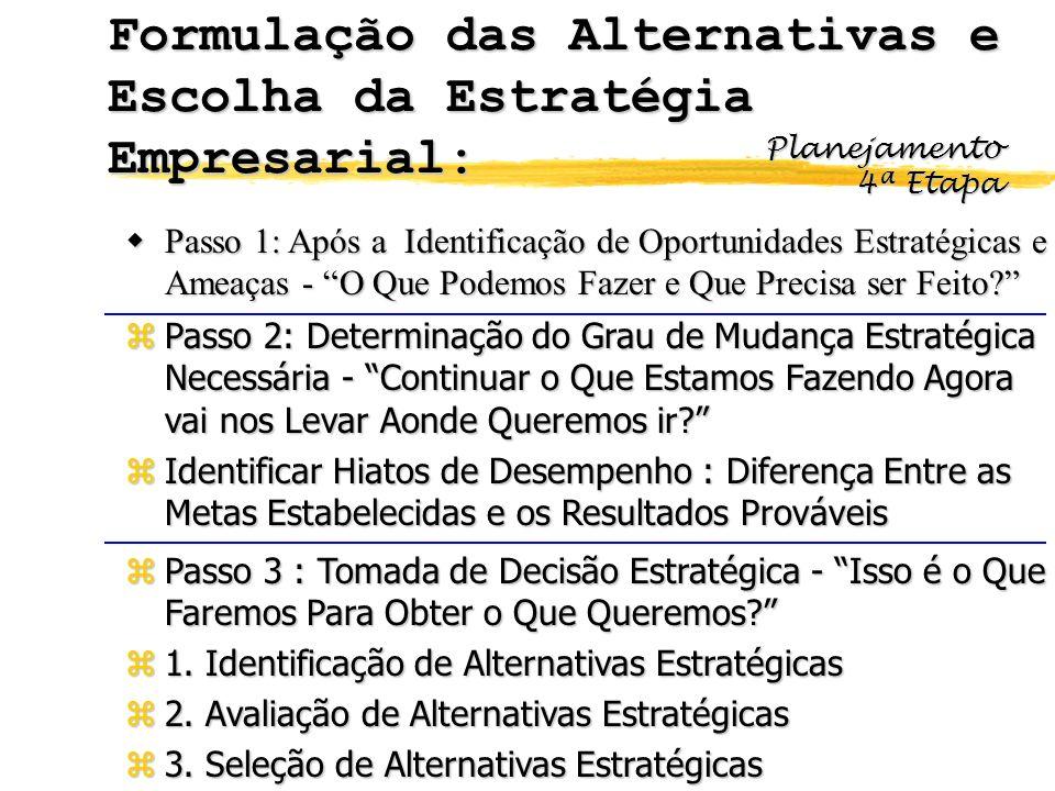 Formulação das Alternativas e Escolha da Estratégia Empresarial: