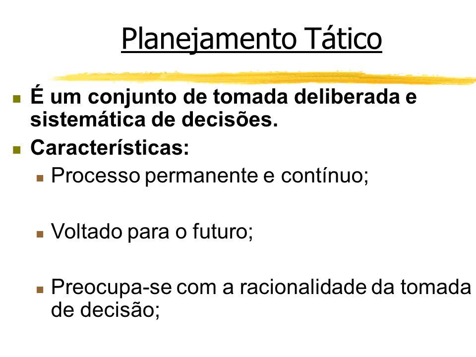 Planejamento Tático É um conjunto de tomada deliberada e sistemática de decisões. Características: