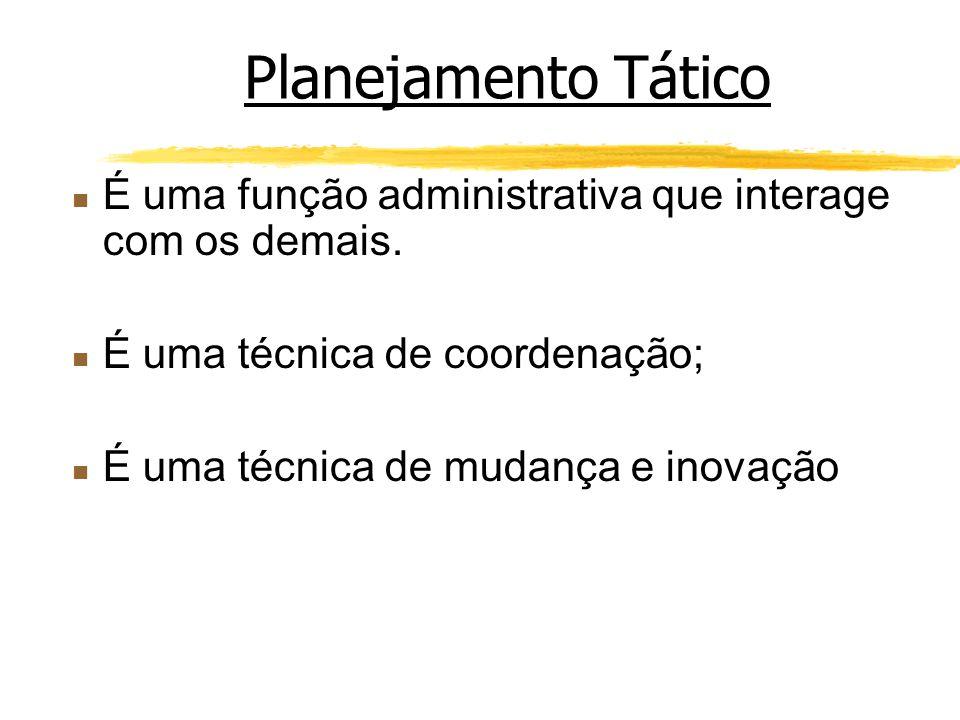 Planejamento Tático É uma função administrativa que interage com os demais. É uma técnica de coordenação;