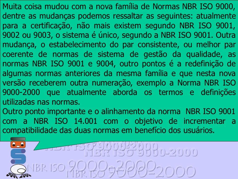 Muita coisa mudou com a nova família de Normas NBR ISO 9000, dentre as mudanças podemos ressaltar as seguintes: atualmente para a certificação, não mais existem segundo NBR ISO 9001, 9002 ou 9003, o sistema é único, segundo a NBR ISO 9001. Outra mudança, o estabelecimento do par consistente, ou melhor par coerente de normas de sistema de gestão da qualidade, as normas NBR ISO 9001 e 9004, outro pontos é a redefinição de algumas normas anteriores da mesma família e que nesta nova versão receberem outra numeração, exemplo a Norma NBR ISO 9000-2000 que atualmente aborda os termos e definições utilizadas nas normas.