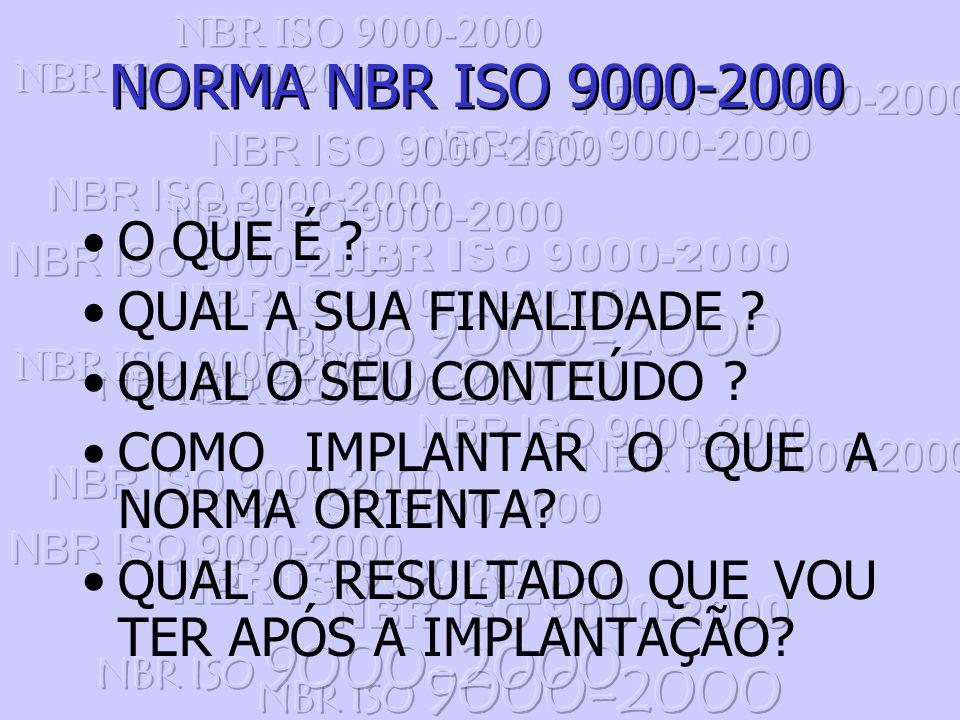 NORMA NBR ISO 9000-2000 O QUE É QUAL A SUA FINALIDADE