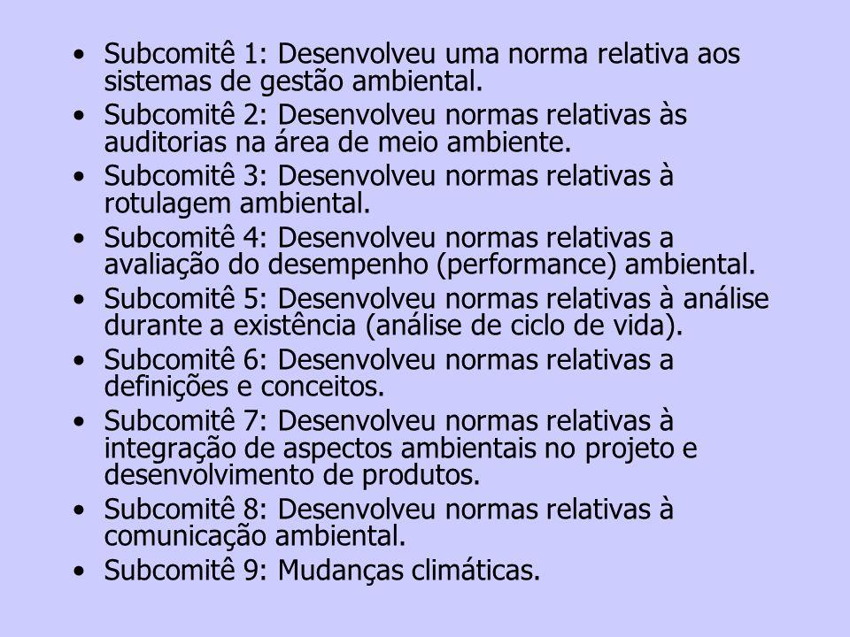 Subcomitê 1: Desenvolveu uma norma relativa aos sistemas de gestão ambiental.