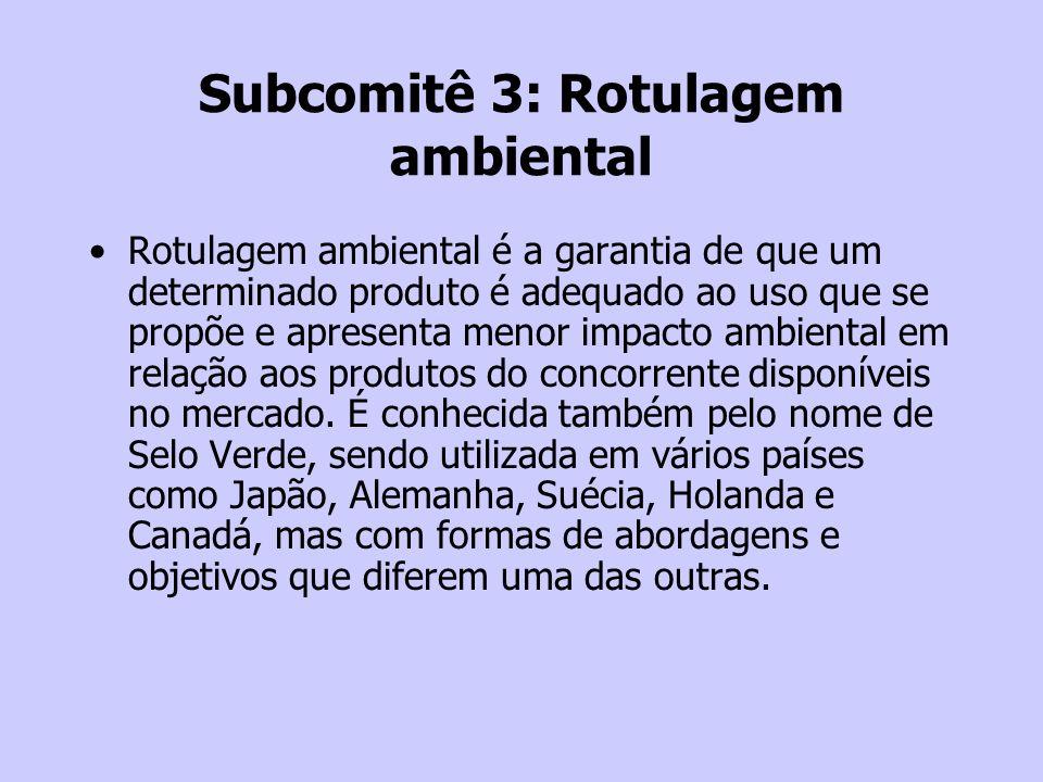 Subcomitê 3: Rotulagem ambiental