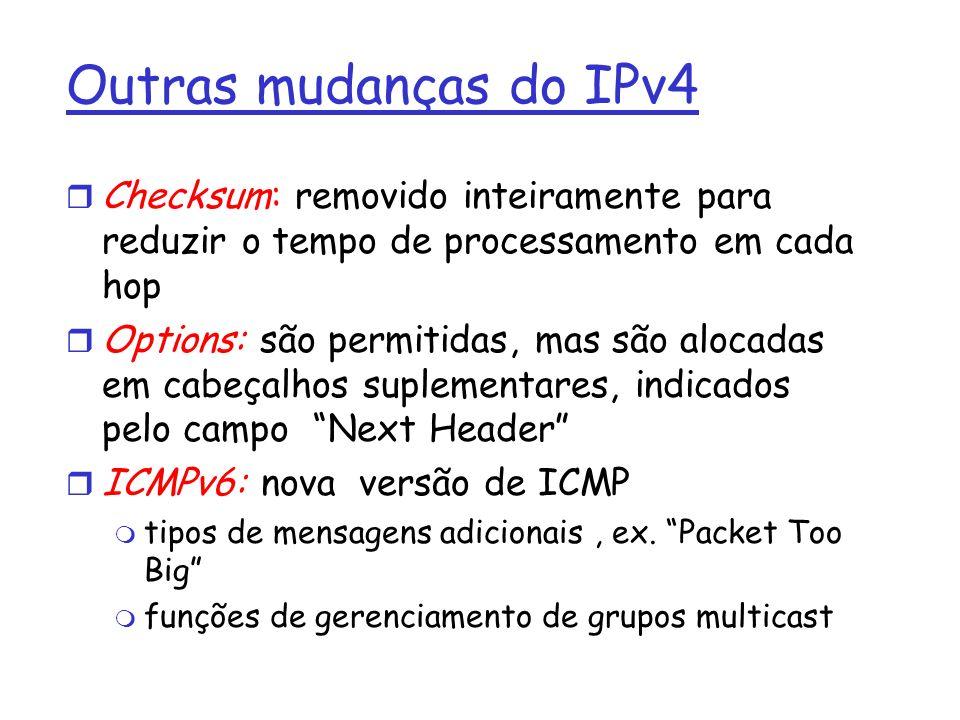 Outras mudanças do IPv4 Checksum: removido inteiramente para reduzir o tempo de processamento em cada hop.