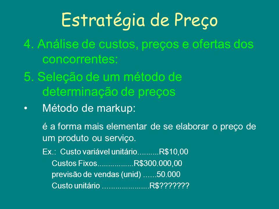Estratégia de Preço 4. Análise de custos, preços e ofertas dos concorrentes: 5. Seleção de um método de determinação de preços.