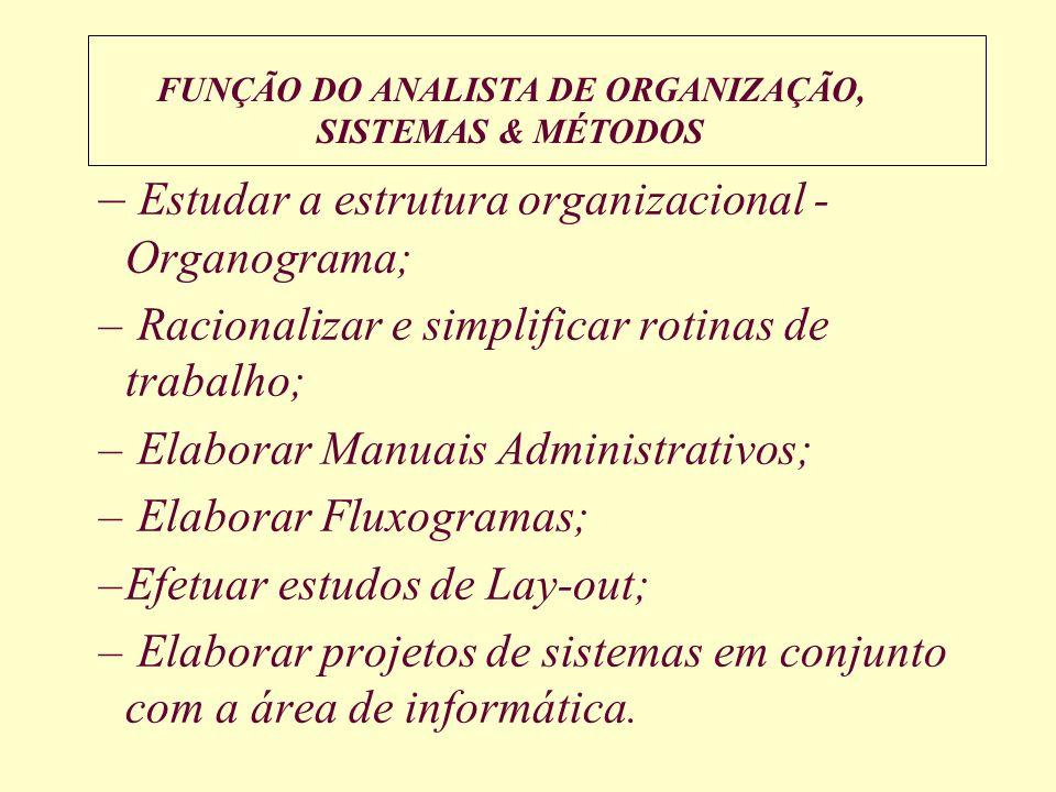 FUNÇÃO DO ANALISTA DE ORGANIZAÇÃO, SISTEMAS & MÉTODOS