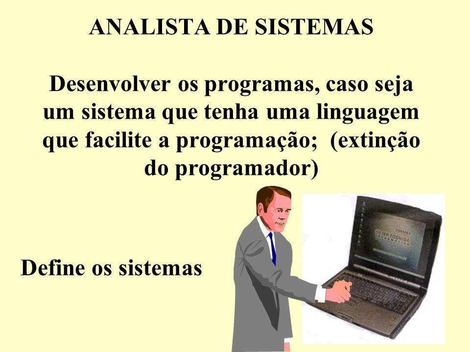ANALISTA DE SISTEMAS Desenvolver os programas, caso seja um sistema que tenha uma linguagem que facilite a programação; (extinção do programador)