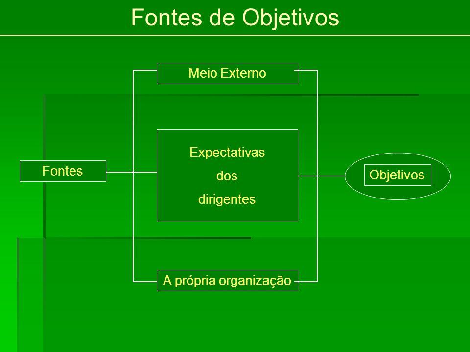 Fontes de Objetivos Meio Externo Expectativas dos dirigentes Fontes