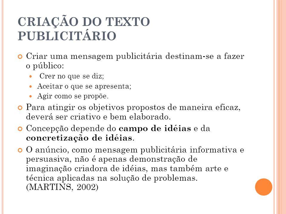CRIAÇÃO DO TEXTO PUBLICITÁRIO