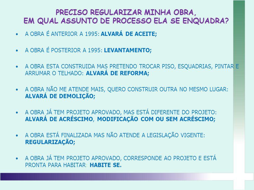 PRECISO REGULARIZAR MINHA OBRA, EM QUAL ASSUNTO DE PROCESSO ELA SE ENQUADRA