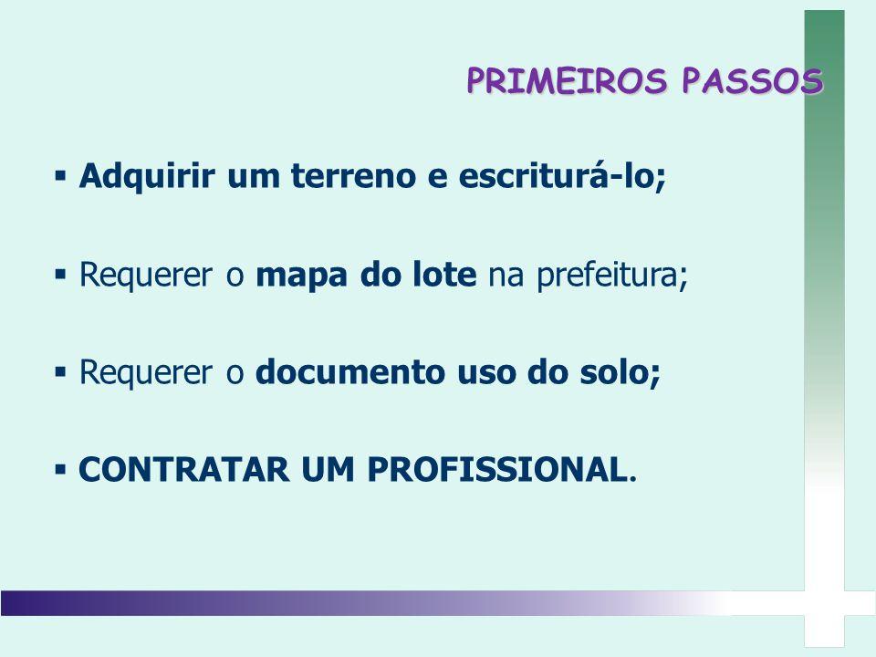 PRIMEIROS PASSOS Adquirir um terreno e escriturá-lo; Requerer o mapa do lote na prefeitura; Requerer o documento uso do solo;