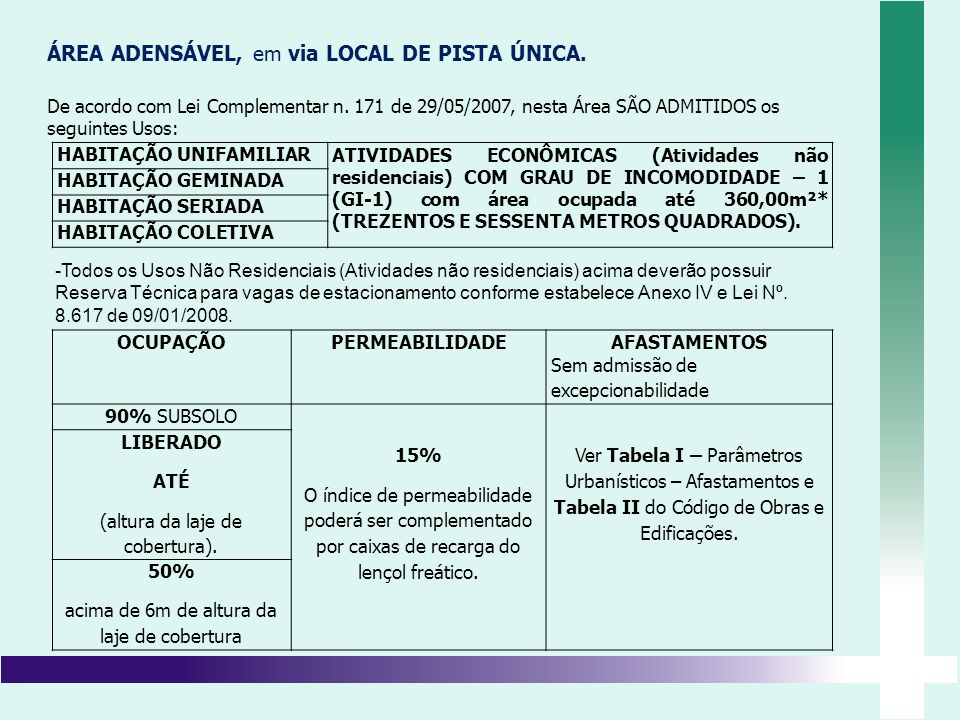 ÁREA ADENSÁVEL, em via LOCAL DE PISTA ÚNICA.