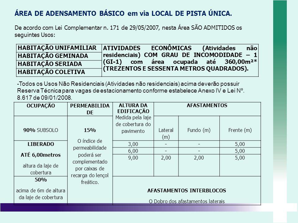 ÁREA DE ADENSAMENTO BÁSICO em via LOCAL DE PISTA ÚNICA.