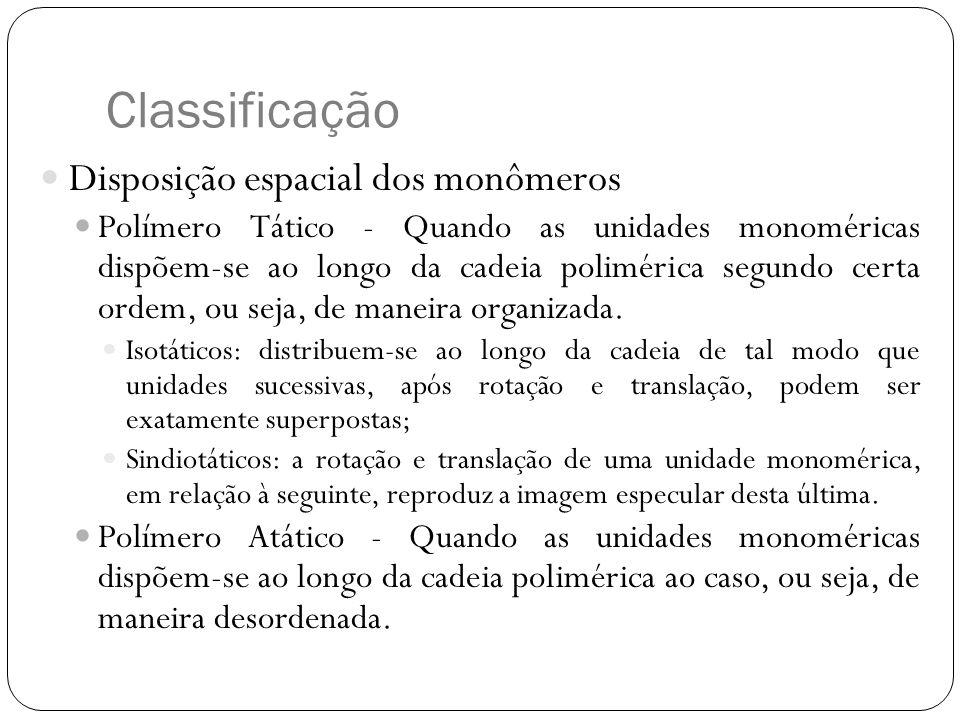 Classificação Disposição espacial dos monômeros
