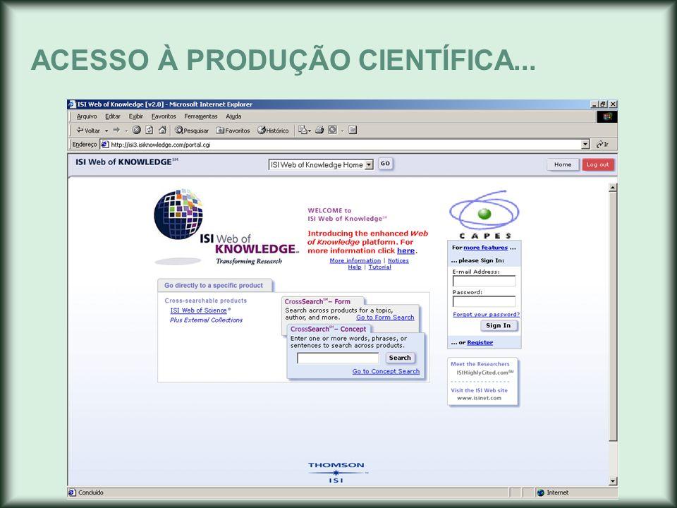 ACESSO À PRODUÇÃO CIENTÍFICA...