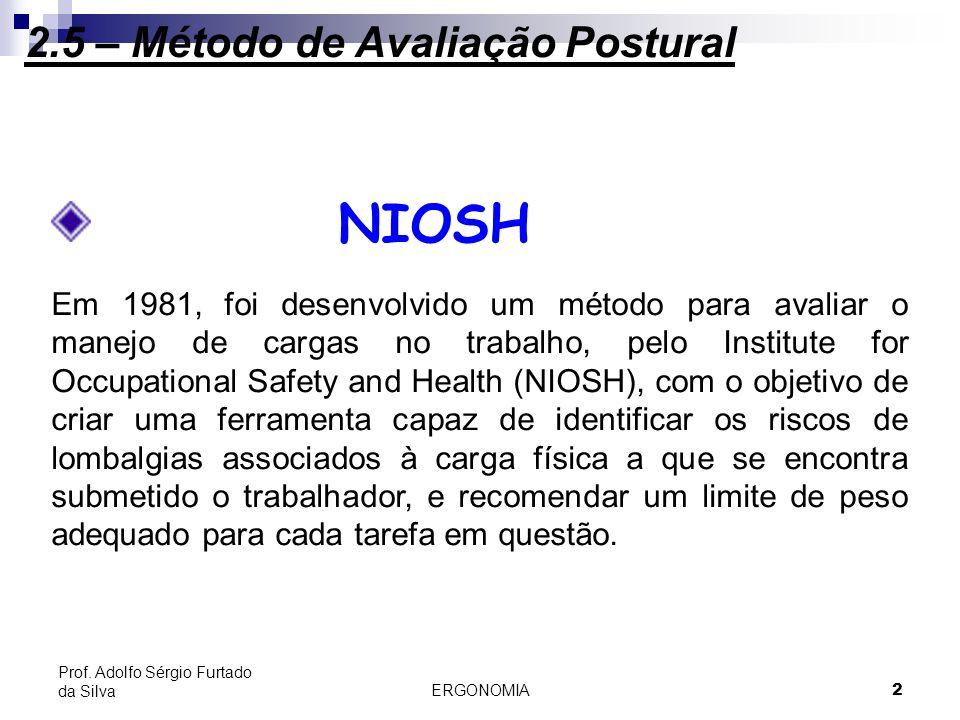 2.5.2 - NIOSH 2.5 – Método de Avaliação Postural