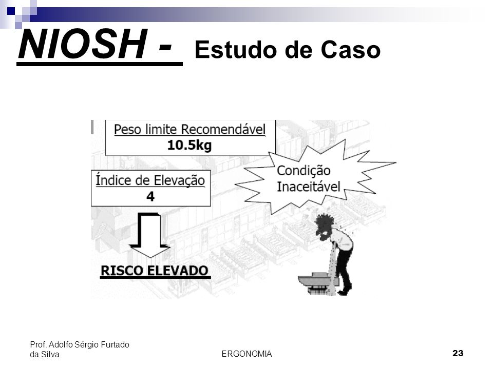 NIOSH - Estudo de Caso Prof. Adolfo Sérgio Furtado da Silva ERGONOMIA