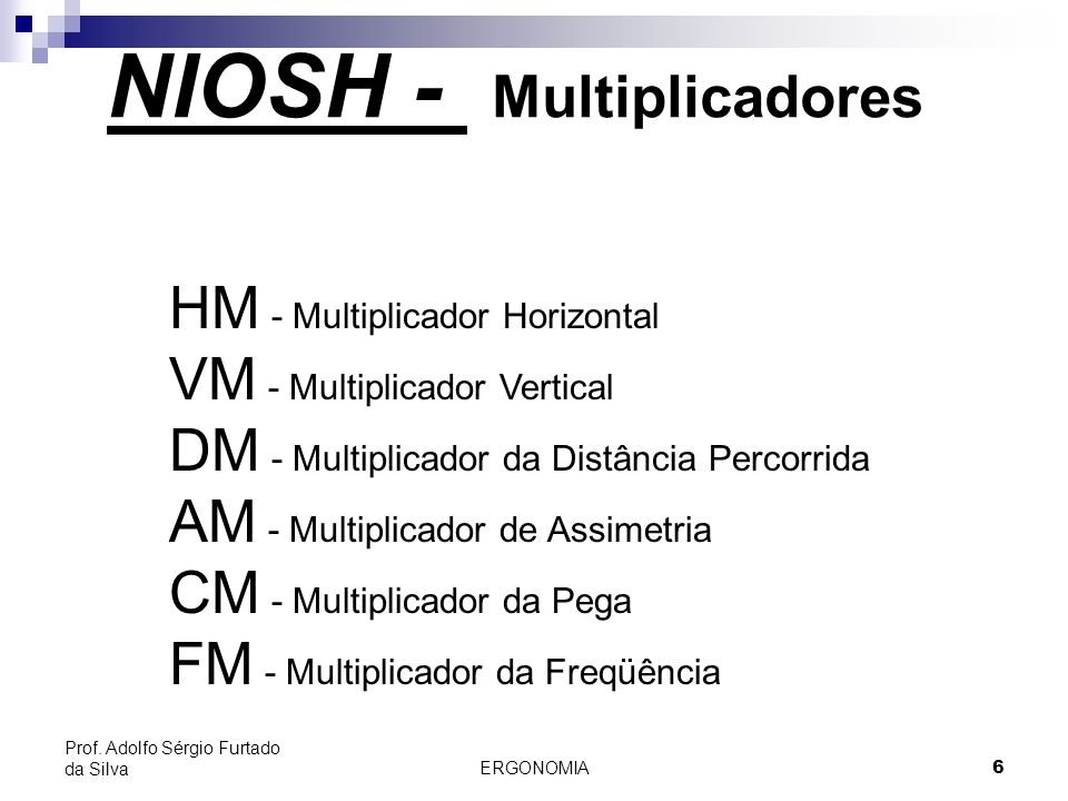 NIOSH - Multiplicadores