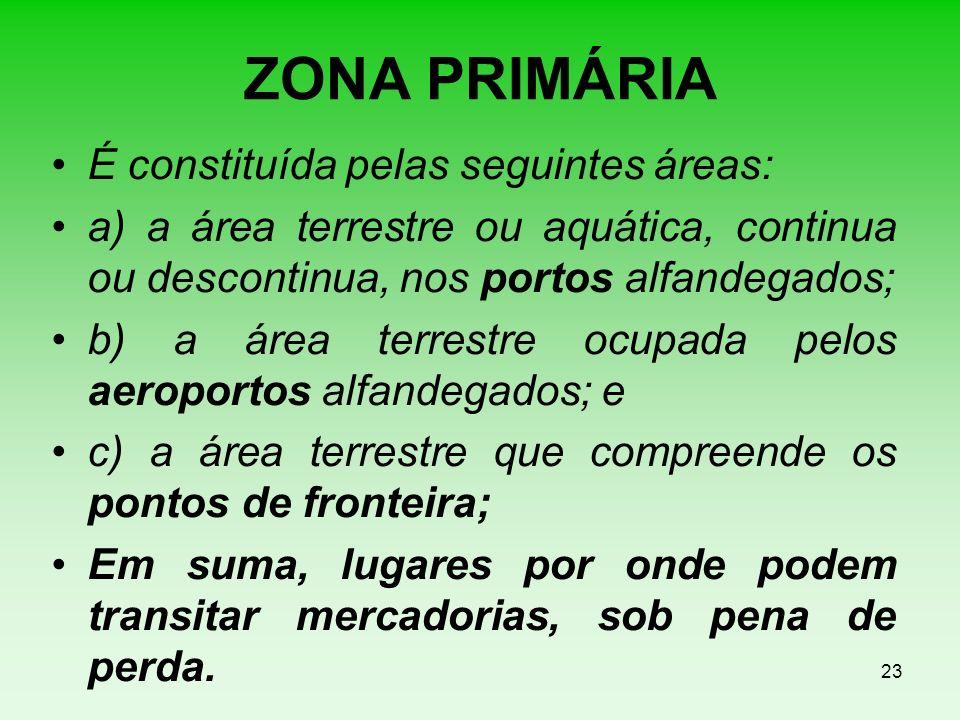 ZONA PRIMÁRIA É constituída pelas seguintes áreas: