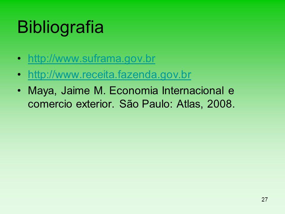 Bibliografia http://www.suframa.gov.br