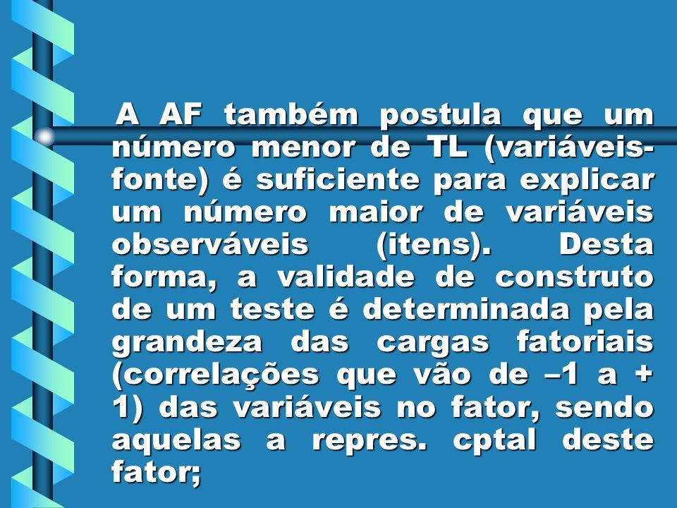 A AF também postula que um número menor de TL (variáveis-fonte) é suficiente para explicar um número maior de variáveis observáveis (itens).