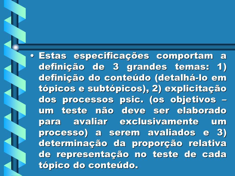 Estas especificações comportam a definição de 3 grandes temas: 1) definição do conteúdo (detalhá-lo em tópicos e subtópicos), 2) explicitação dos processos psic.