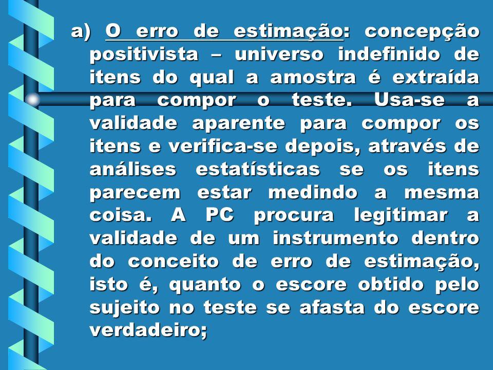 a) O erro de estimação: concepção positivista – universo indefinido de itens do qual a amostra é extraída para compor o teste.