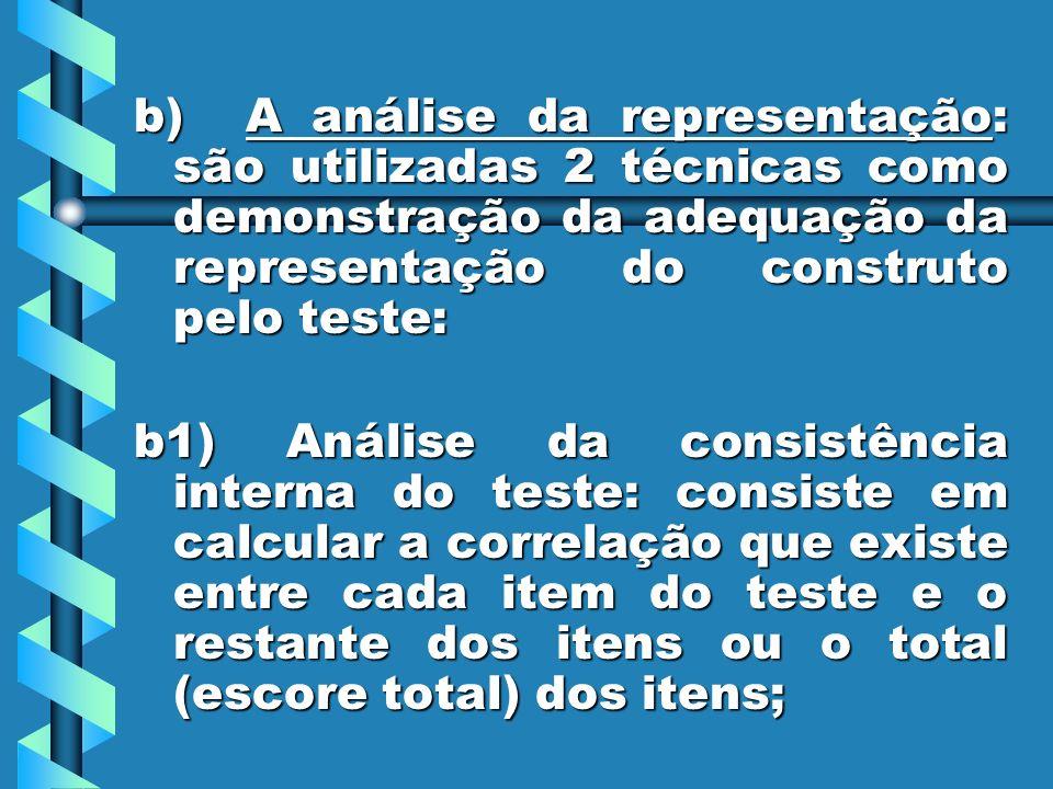 b) A análise da representação: são utilizadas 2 técnicas como demonstração da adequação da representação do construto pelo teste: