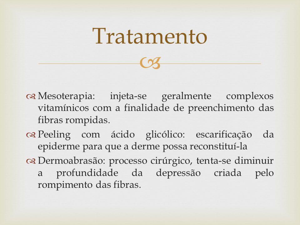 Tratamento Mesoterapia: injeta-se geralmente complexos vitamínicos com a finalidade de preenchimento das fibras rompidas.