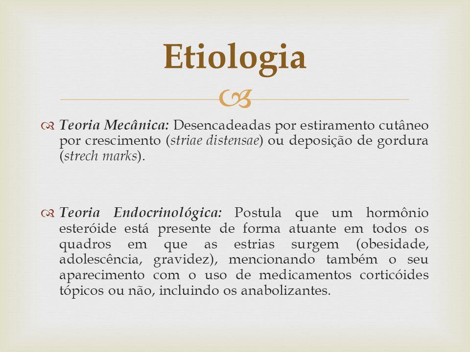 Etiologia Teoria Mecânica: Desencadeadas por estiramento cutâneo por crescimento (striae distensae) ou deposição de gordura (strech marks).