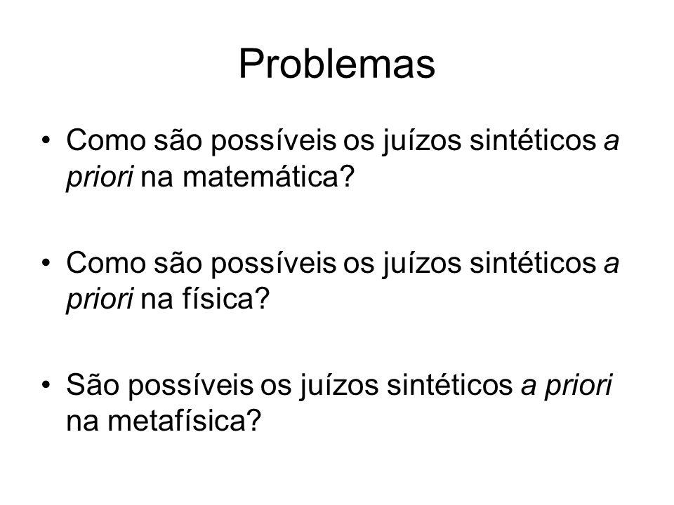 Problemas Como são possíveis os juízos sintéticos a priori na matemática Como são possíveis os juízos sintéticos a priori na física