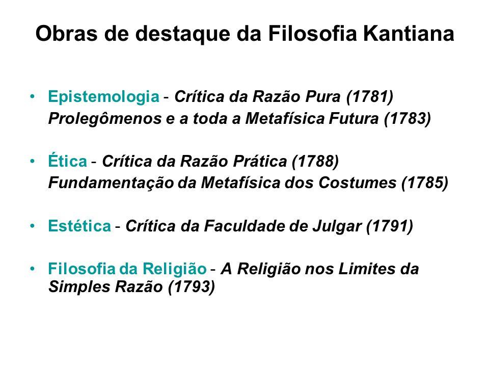 Obras de destaque da Filosofia Kantiana