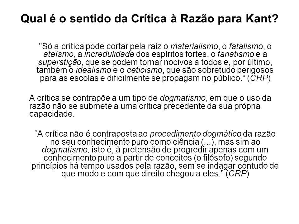 Qual é o sentido da Crítica à Razão para Kant