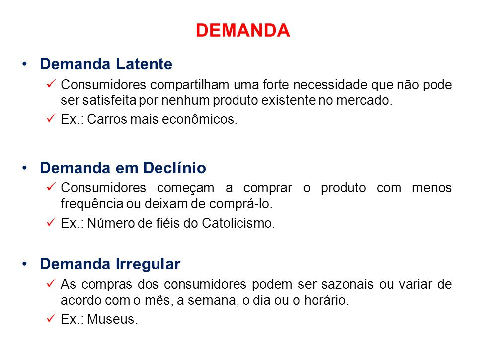 DEMANDA Demanda Latente Demanda em Declínio Demanda Irregular