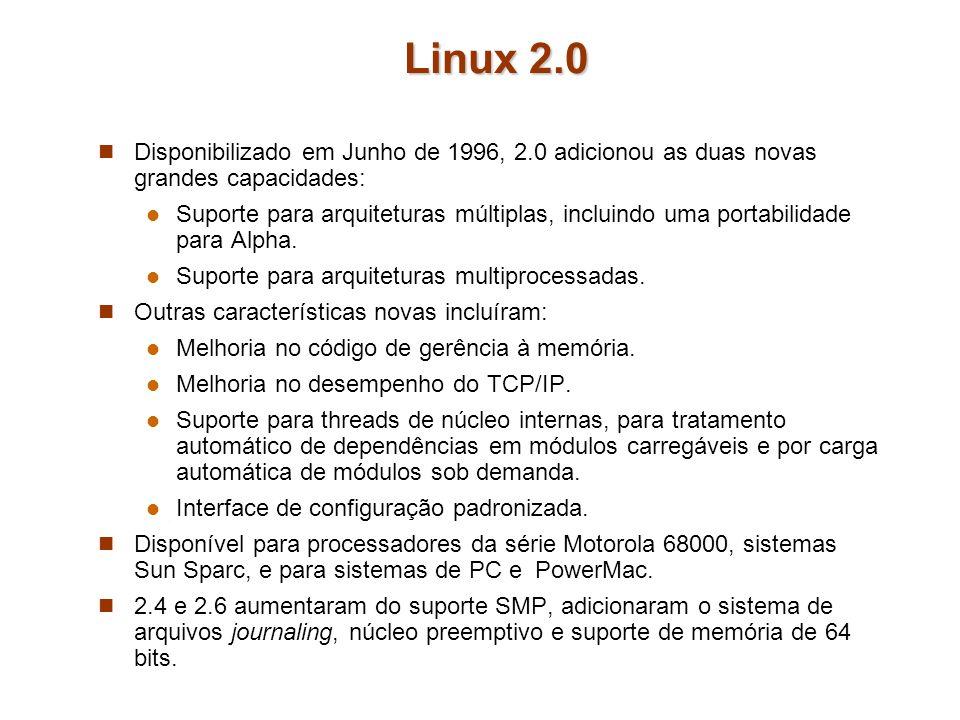 Linux 2.0 Disponibilizado em Junho de 1996, 2.0 adicionou as duas novas grandes capacidades: