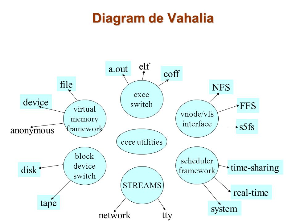 Diagram de Vahalia elf a.out coff file NFS device FFS s5fs anonymous