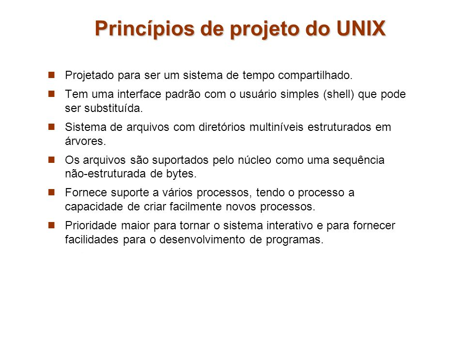 Princípios de projeto do UNIX