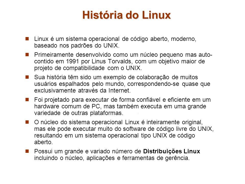 História do Linux Linux é um sistema operacional de código aberto, moderno, baseado nos padrões do UNIX.